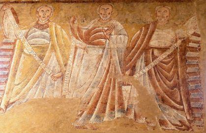 Fresque Romane XIIe, Eglise St Martin de Vic, Bourges, FranceLes trois prophètes