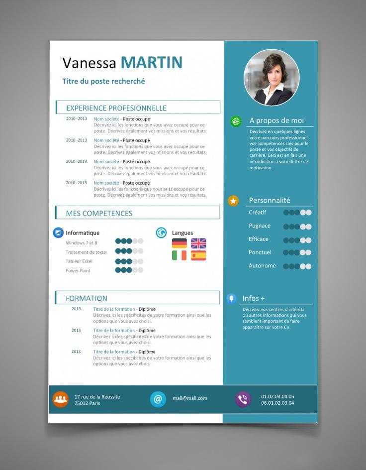 Nouvel exemple de CV design avec plusieurs icônes colorées 2015 2016.jpg